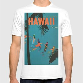 Surfing Hawaii - Jet Clippers to Hawaii Vintage Travel Poster T-shirt