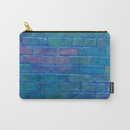 ultramarine blue distressed painted brick wall ambient decor rustic brick effect Carry-All Pouch