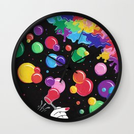 Bubbles colors the World !  Wall Clock
