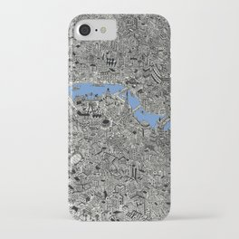 Map of London Thames Drawing iPhone Case