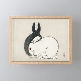 Japanese Rabbit Woodcut Bairei Gakan Framed Mini Art Print