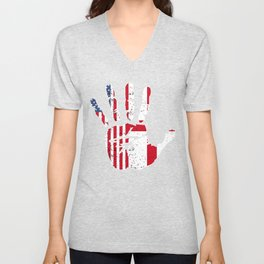 USA England Handprint & Flag | Proud English American Heritage, Biracial American Roots, Culture, Unisex V-Neck