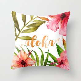 Aloha Watercolor Tropical Hawaiian leaves and flowers Throw Pillow