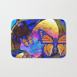 SURREAL BLUE  MONARCH BUTTERFLIES & IRIDESCENT BUBBLES  ART Bath Mat