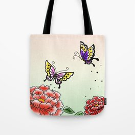 Two peony and two butterflies~牡丹と蝶々~ Tote Bag