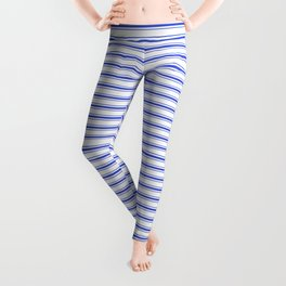 Small Horizontal Cobalt Blue and White French Mattress Ticking Stripes Leggings