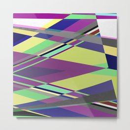 Crossed Paths - abstract, geometric, intersecting pastel shapes Metal Print