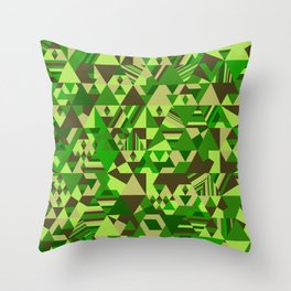 Colourful triangular mosaic in the nuance of green Throw Pillow