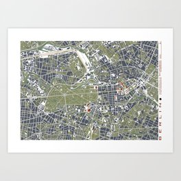 Berlin city map engraving Art Print