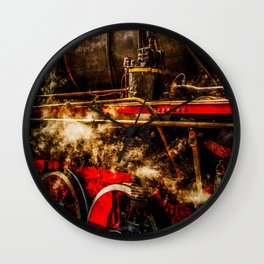 Old Train In Steam Wall Clock