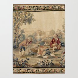 Aubusson  Antique French Tapestry Print Poster