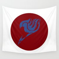 fairy tail Wall Tapestries featuring Fairy Tail Segmented Logo (Erza) circle by JoshBeck