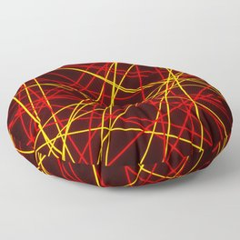 Neon Abstract Line -Red and Yellow, Black- Floor Pillow