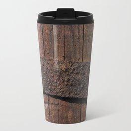 Old wood and rusty metal of a barrel Travel Mug