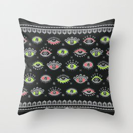 Eye Spy Neon Throw Pillow