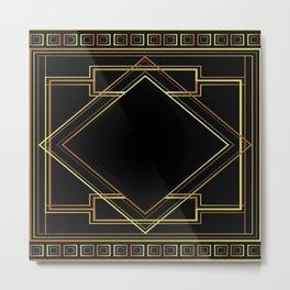 art deco gatsby black and gold lines geometric pattern Metal Print