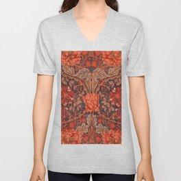 """William Morris """"Honeysuckle and tulip"""" 9. Unisex V-Neck"""