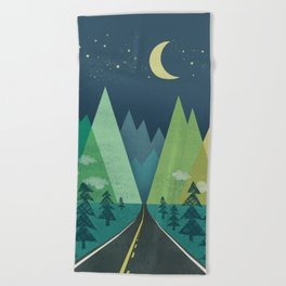 The Long Road at Night Beach Towel