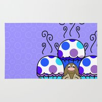 polkadot Area & Throw Rugs featuring Cute Monster With Blue And Purple Polkadot Cupcakes by Mydeas