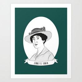 Jeannette Rankin Illustrated Portrait Art Print