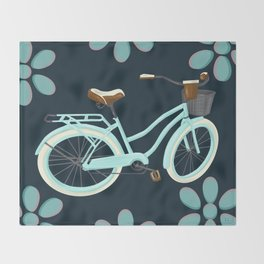 My Bike Floral Throw Blanket