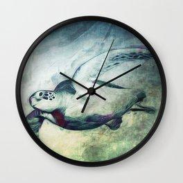 Flying Green Sea Turtle Wall Clock