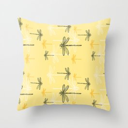 Dragonfly minimal Soft light Yellow & Ultimate Gray_drawing Throw Pillow