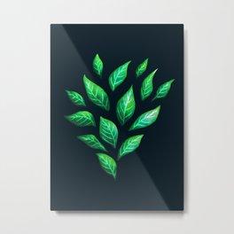 Dark Abstract Green Leaves Metal Print
