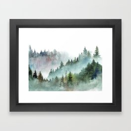 Watercolor Pine Forest Mountains in the Fog Framed Art Print