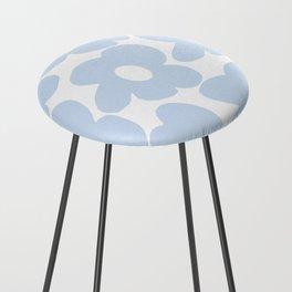 Large Baby Blue Retro Flowers White Background #decor #society6 #buyart Counter Stool