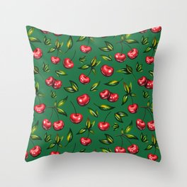 Watercolor cherry pattern on green background Throw Pillow