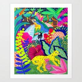 Jungle Party Animals Art Print