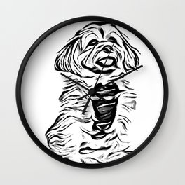 Copper the Havapookie Sketch Wall Clock