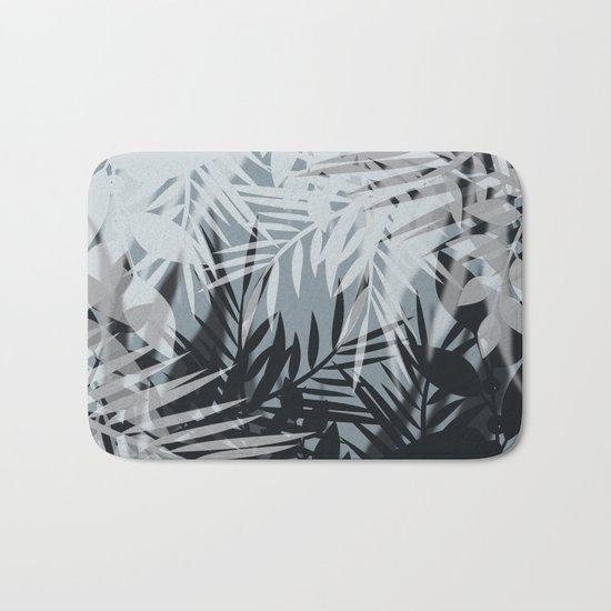 Gray Leaves pattern . Bath Mat
