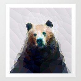 Wild Bear Low Poly Geometric Minimalist Design Art Print