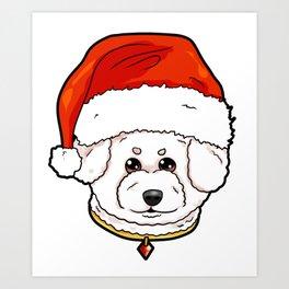 Bichon Frise Dog Christmas Hat Present Art Print