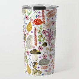 Colorful Autumn woodland animals and foliage pattern Travel Mug