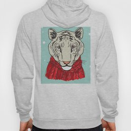 Merry Christmas New Year's card design Tiger head in a red knitted sweater and a scarf. Sketch Hoody