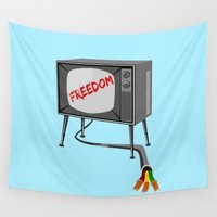 tv Wall Tapestries featuring Freedom Television by mailboxdisco