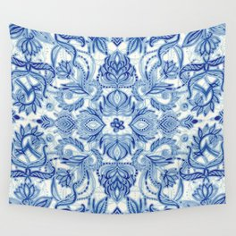 Pattern in Denim Blues on White Wall Tapestry