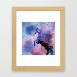 horse statue on watercolor Framed Art Print