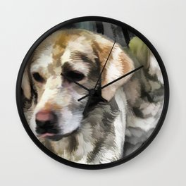 Labradors fun in the mud Wall Clock