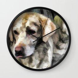 Labradors fun in the mud Wall Clock