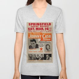 1967 Johnny Cash, Carter Family, Carl Perkins at Springfield Shrine Mosque Concert Poster Unisex V-Neck