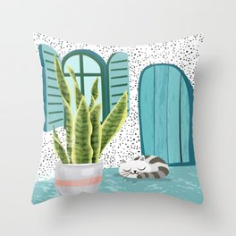 Lazy afternoon Throw Pillow