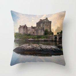 Eilean Donan Castle at sunrise Throw Pillow