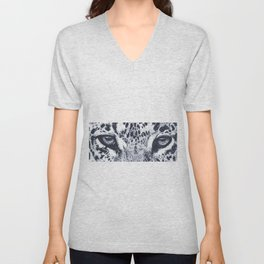 Ink pointillism leopard drawing Unisex V-Neck