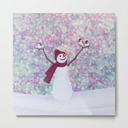 snowman and chickadees Metal Print