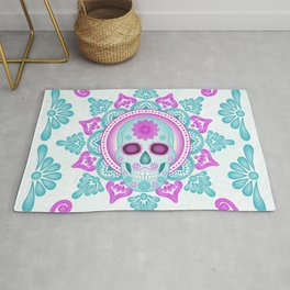 Pastel Day of the Dead Skull Rug