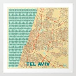Tel Aviv Map Retro Art Print
